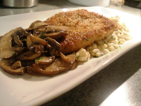 Spaetzle and Schnitzel with Glazed Baby Bella Mushrooms