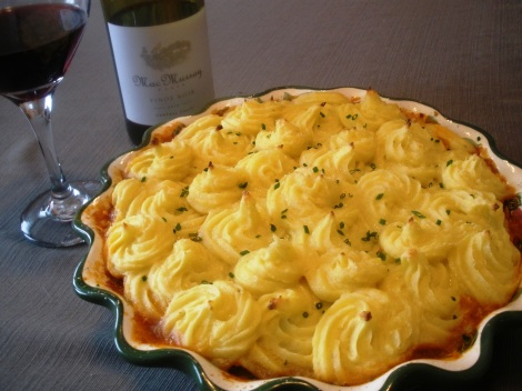 Shepherd's Pie with Potatoes Duchesse and Pinot Noir