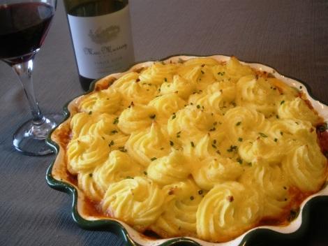 Shepherd's Pie with Potatoes Duchesse and Pinot Noir